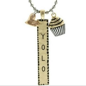 Ball Chain Necklace with YOLO Heart Cupcake Charms